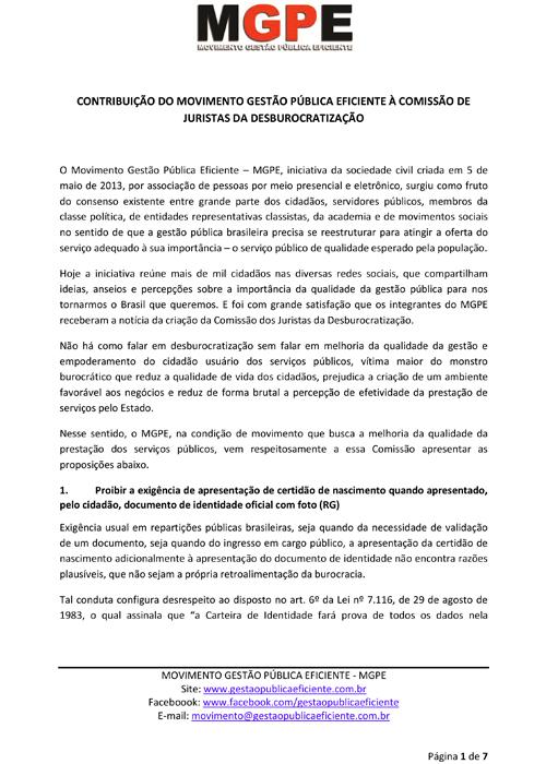Contribuição do Movimento Gestão Pública Eficiente para a Comissão de Juristas da Desburocratização